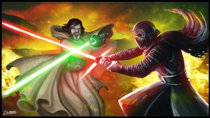 Luke Vs Kylo Ren - star wars by clemper