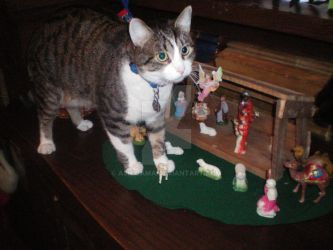 Giant Cat Visits Baby Jesus by Ashigama