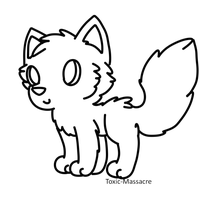 FREE Chibi Wolf Lineart by DeerNTheHeadlights