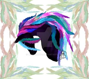 feathered horse head