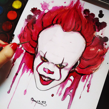 pennywise drawing by charlien by CharlienChan