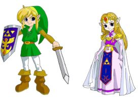 Link and Zelda in color by reenas-as