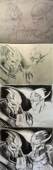 Nihlus and Saren - WIP by efleck