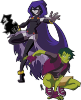 Raven and Beast boy by SuperOotoro
