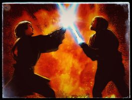 Anakin vs Obi Wan - Duel at Mustafar - by Doveri