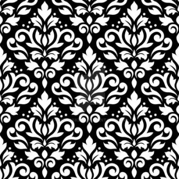 Scroll Damask Pattern White on Black by NatPaskell