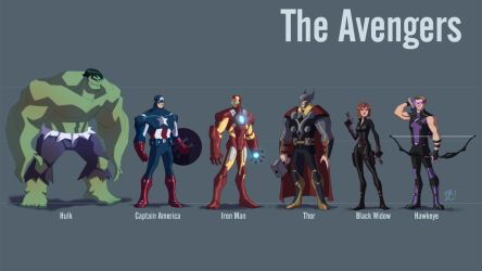 The Avengers Line Up by EricGuzman