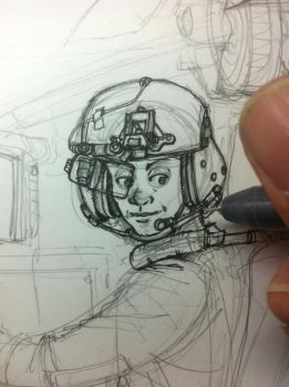Work in progress 1: Untitled Female Pilot by KRONOMATIK