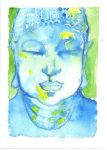 Buddha SKETCH CARD MINI PAINTING by WILLEYWORKS