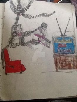Nightmare Mangle watching TV by Fazscare87