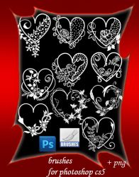 Valentine heart brushes by roula33