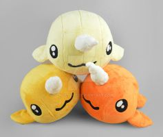 Orange/Yellow Narwhal Plush Collection by SewDesuNe