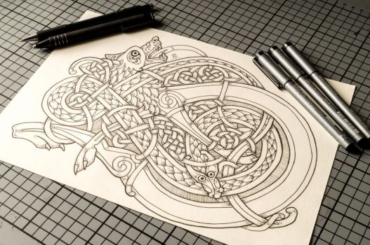 Celtic Wolf and Snake by Feivelyn