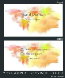 Free Colored Business Card Psd by DumanMurat