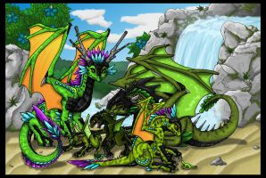 Green DnD Dragons + Waterfall by Chikara-Redwing