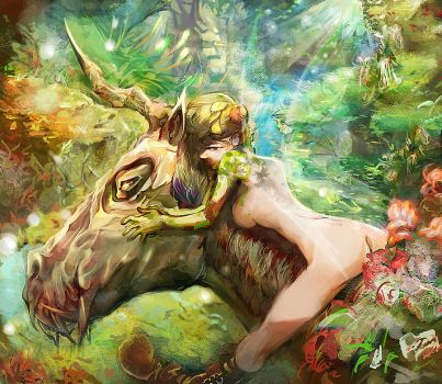 Unicorn and fairie in  forest by Electrixocket