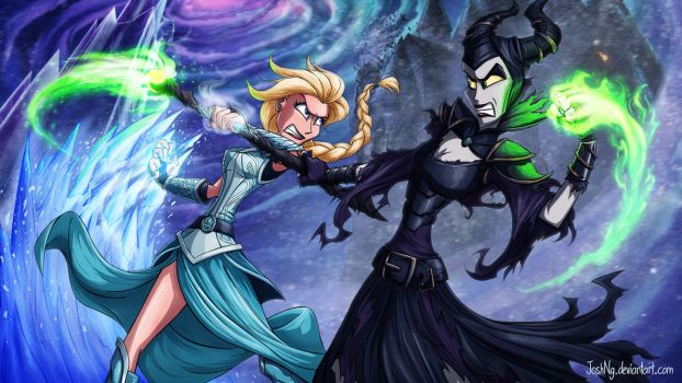 Elsa vs Maleficent by JoshNg