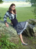 Checkered long skirt w chains by funkyfunnybone