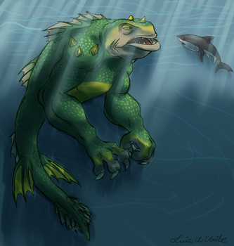 Spore's Sea Monster..... and a Great White Shark by TerryRed