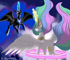 Fight in the night sky by DreamyArtCosplay