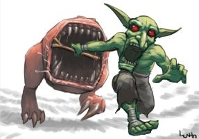 Grot and Squig playing catch by Lutherniel