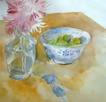 Vase with Greengages by hundredsand