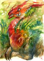 Red faced earth dragon by skulldog