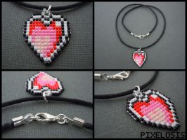 Handmade Seed Bead Heart Container Necklace by Pixelosis