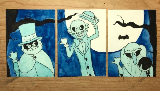 Hitchhiking Ghosts - Watercolor sketch cards by NoDiceMike