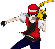 Sacha and Pikachu Line Art Colorized version by fabjoueur
