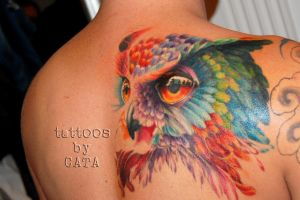 colorful owl tattoo by TattoosByCata