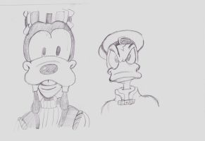 Goofy and Donald Portrait by Messinground