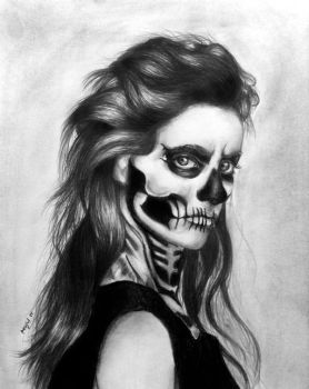 Skeleton face graphite drawing by wideyedkitten11