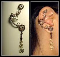 Steampunk Dangly ear cuff by Meowchee