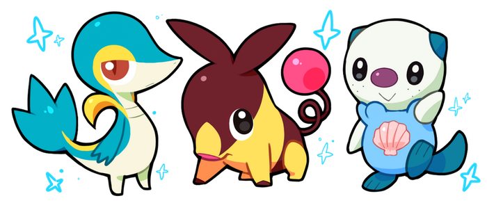 shiny Unova starters by drill-tail