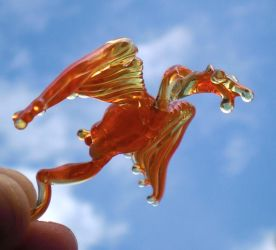Fiery glass mini dragon by fairyfrog