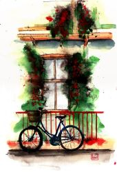 Red Fence, Blue Bicycle by lloyd-art