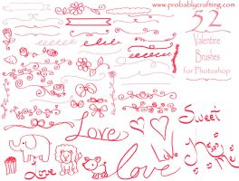 52 Sketch Valentine Brushes for Photo Shop by probablycrafting