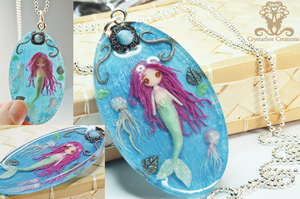 Polymer clay Mermaid and Jellyfish by Crystarbor