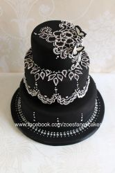 Black and white brush embroidery cake tutorial by zoesfancycakes
