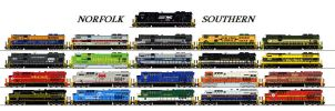 Norfolk Southern Heritage Units by Tractor-Drawn-Aerial