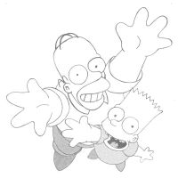 Homer et Bart Simpson by ManuXIII