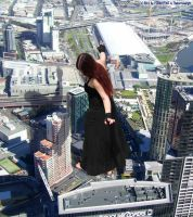 Gothic Mega Giantess In City by theborrowergts