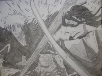 Ichigo VS Byakuya by AnimeDaydream
