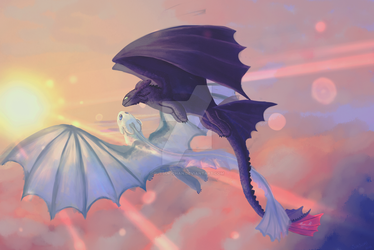 Toothless and Light Fury fanart by Sutsukichan