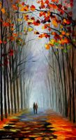 Autumn fog 3 by Leonid Afremov by Leonidafremov