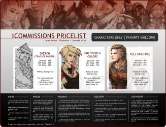Commissions - Pricelist 2016 by LauraBevon