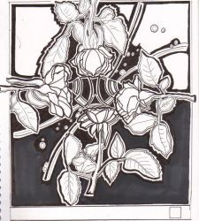 bw pen flowers by Sincere-Play