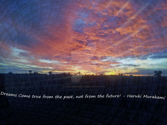 Photoshop edit of my sunset with a portal -Quote by RandomCookieCx