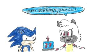 Sonic and Tangle - Happy 27th. Sonic by dth1971